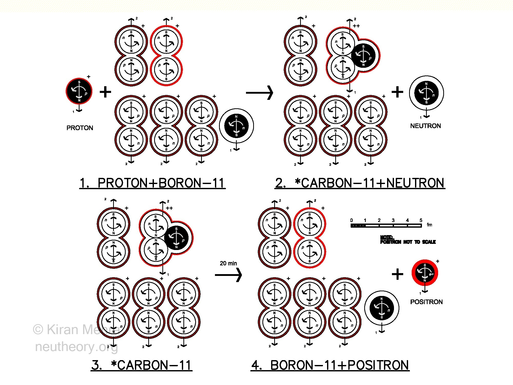 Four diagrams showing one process by which a positron is made from boron-11
