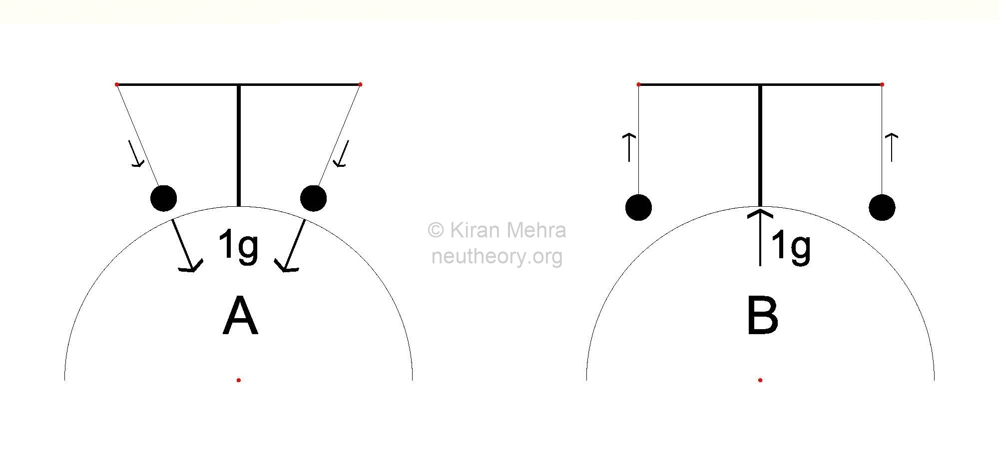 two half black circles each with two giant cantilevered pendulems with stationary bobs. In one the bobs point to the center of the earth and in the other they are parallel to the support.